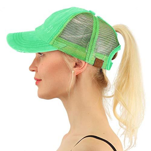 C.C Ponytail Messy Buns Trucker Ponycaps Plain Baseball Visor Cap Dad Hat Distressed Solid Mint