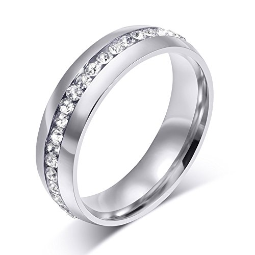 6mm Women's Rounded Comfort Fit Polished Eternity Wedding Band CZ Stainless Steel Rings Size 5-13