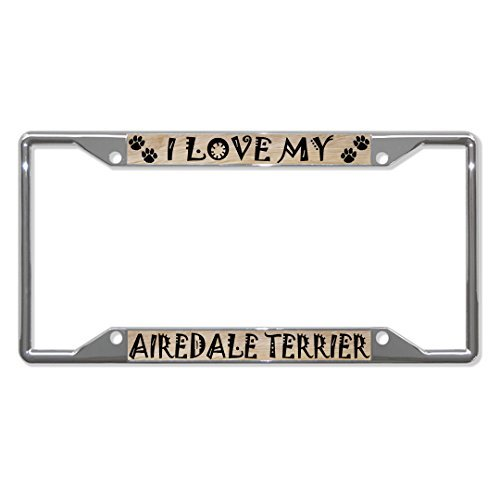 License Plate Covers AIREDALE TERRIER Dog Chrome License Plate Frame Tag Holder Four Holes