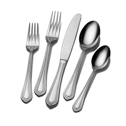 Mikasa 5081086 Regent Bead 65-Piece 18/10 Stainless Steel Flatware Set with Serving Utensil Set, Service for 12 ()