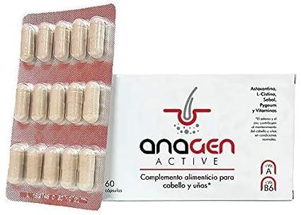 Anagen Active - tratamiento anti-caída de cabello | Complejo con Bitoina, Zinc, vitaminas, Selenio, L-Carnitina, Saw palmeto, Astaxantina | Crecepelo ...