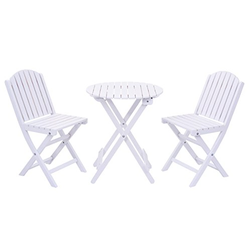 Giantex 3 Piece Table Chair Set Wood Folding Outdoor Patio Garden Pool Furniture (White)
