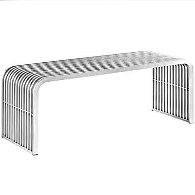 Modway Pipe Stainless Steel Bench, Silver - CONTEMPORARY STYLE - A striking addition to the modern home, this metal bench blends mid-century style and contemporary modern appeal with its grate-inspired detail, curved edges and tubular design VERSATILE DESIGN - Stylish and sturdy, Pipe serves its purpose as dining room bench, an extra seat in the living room, a conversation piece in the foyer, or at the foot of the bed in a bedroom LASTING CONSTRUCTION - Durable tubes of stainless steel form the frame of this modern bench. With sturdy support beams and seamless design, Pipe is both a dynamic seat and decorative accent - entryway-furniture-decor, entryway-laundry-room, benches - 41uRdjjARfL. SS400  -