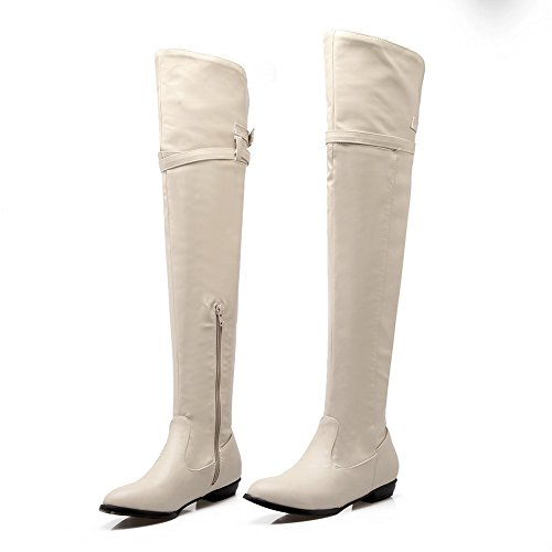 White Square Boots Imitated Ladies Heels Leather Zipper Buckle BalaMasa 7qPFgw8x
