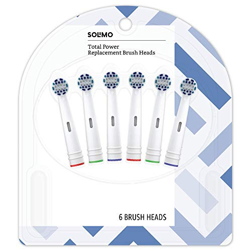 Amazon Brand - Solimo Total Power Replacement Brush Heads, 6 Count (Fits Most Oral-B Electric Toothbrushes) by Solimo