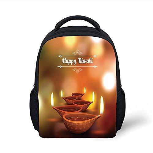 iPrint Kids School Backpack Diwali,Eastern Religious Celebration with Best Wishes Happy Diwali Festive Spiritual Art Print,Brown Plain Bookbag Travel Daypack by iPrint