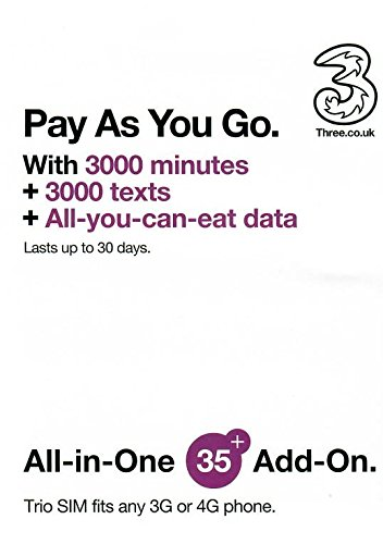 UK Prepaid sim card unlimited data , 3000 minutes , 3000 texts for 30 days, feel at home in 42 countries without data roaming charge, including most European countries by Three Mobile