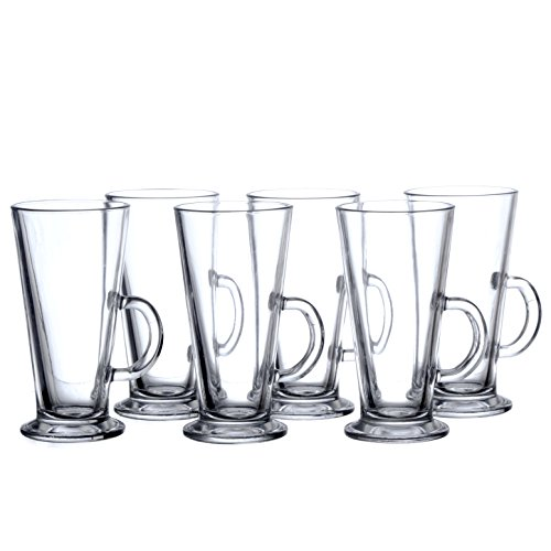 6-Percentage IRISH Coffee Mugs Set with Handle, 8 3/4 oz (265 ml), Clear Glass, Restaurant&Hotel Quality