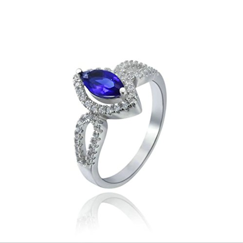 Cave People Costume - Daesar Sterling Silver Rings Wedding Bands for Women Hollow Teardrop Leaf Cubic Zirconia Blue Size 7