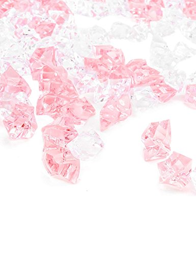 (Premium Pink Fake Crushed Ice Rocks, 150PCS Fake Diamonds Plastic Ice Cubes Acrylic Clear Ice Rock Diamond Crystals Fake Ice Cubes Gems for Decoration Wedding Display Vase Fillers by DomeStar)