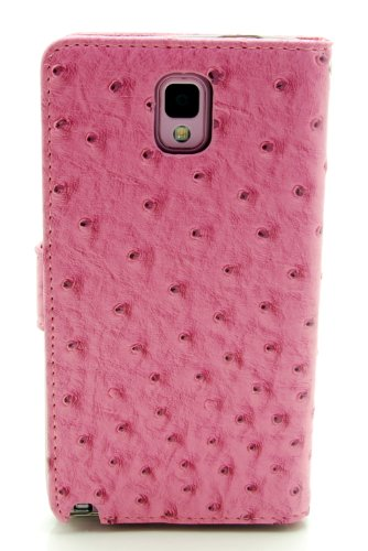 ZZYBIA® NOTE III 3 OG Pink Leatherette Stand Case Card Holder Wallet with a Giraffe Fringed Dust Plug Charm for Samsung Galaxy Note III 3 N9000 N9005