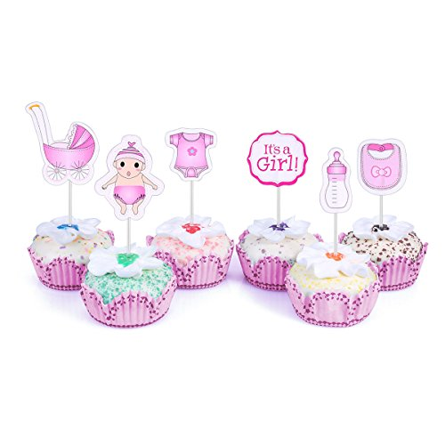 48 Cupcake Toppers It's a Girl Baby Shower Kids Party Cup Cake Decorating Supplies Pink ()