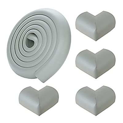 6.5ft Set -4Corner Guard protectors. SafeBaby & Child Safety baby proof edge with clear protective bumpers for furniture. Cushion foam strip brick pad childproof fireplace guard for toddlers- Grey