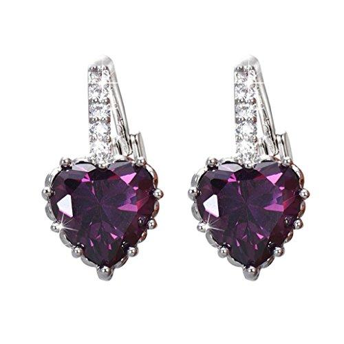 Crystal Hoop Dangle Clip (DDLBiz Women Girls Crystal Love Heart Shape Zircon Earrings Ear Studs Ear Deco (Purple))