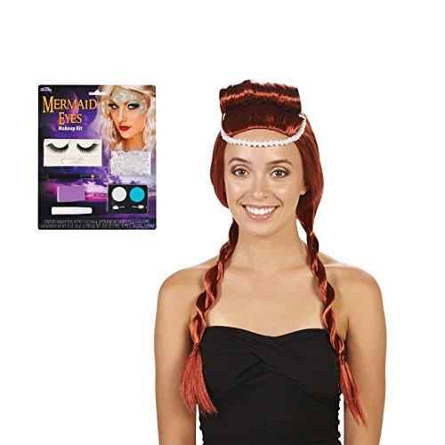 [Red Medieval Adult Wig and Mermaid Makeup Bundle Set] (Little Mermaid Wig For Adults)