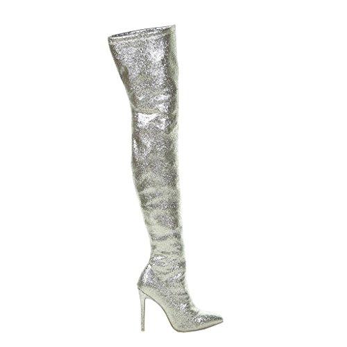 CM Glitter Shoes Gold 11 Shiny Thigh Fashion Sexy Boot Women's Evening Stiletto High Stiletto Heel Angkorly 6qp1f