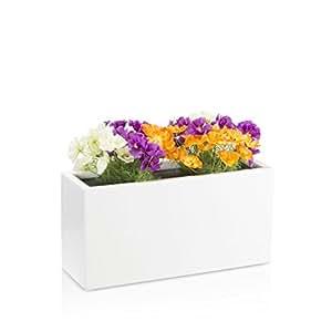 Maceta jardinera VISIO fibra de vidrio macetero - color: blanco mate - maceta grande resistente a las inclemencias y al frío invernal para interior y exterior, jardinera robusta
