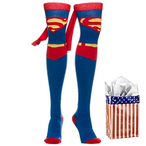 Superman Womens' Suit Up Cape Thigh High Socks & Bag-2 Piece Gift Set
