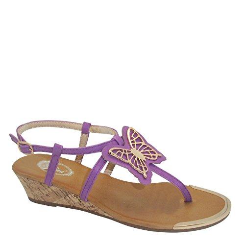 New Brieten Womens Butterfly T-strap Low Wedge Slingback Comfort Sandals Purple 4iMrNkC9m
