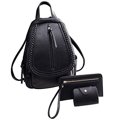 ZHXUANXUAN Sac à Dos Casual Daypack Pour Les Femmes Sac D'école Pour Les Filles Weave Rucksack Black