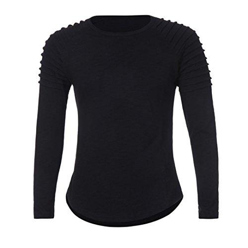 Top Color Camiseta de cuello Negro redondo casual larga hombre Plegable manga zarupeng sólido de Blusa Sqd8SI