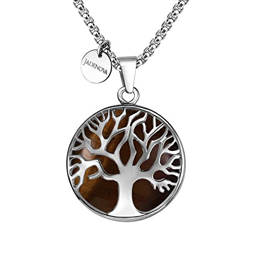 Tiger Eye Gemstone Pendant (JADENOVA Family Tree Necklace Tree of Life Natural Yellow Tiger Eye Gemstone Pendant Necklace 24'' Stainless Steel Chain)