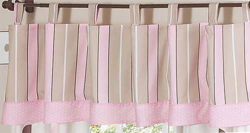 Sweet Jojo Designs Window Valance, Pink and Brown Modern Polka Dots