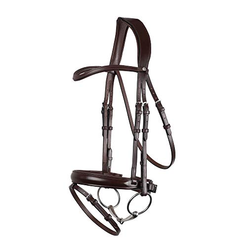 (Montar Normandie Dressage Eco Leather Snaffle Bridle Extra Full Size Brown)
