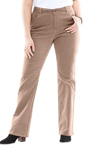 Woman Within Plus Size Stretch Corduroy Bootcut Jean - Almond Taupe, 16 W