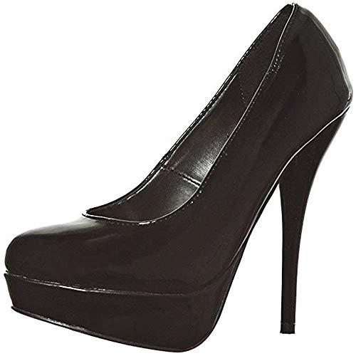Classic Almond Toe Platform Patent Pumps High Heels(7.5, Blackpt)[Apparel] ()