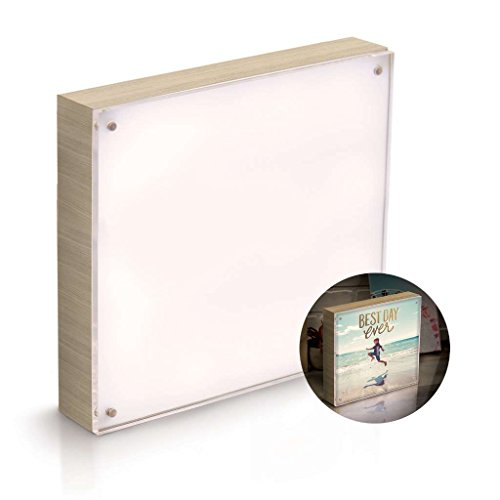 """American Crafts 663020 We R Memory Keepers Photo Lights 8"""" x 8"""" Acrylic Natural Wood Frame Artists Lighting Equipment"""
