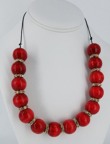 Necklace, Hand Painted Red Cherry Wooden Beads, 19 inches, Formal/Casual, Natural Organic Eco-friendly Gift from Night and Day Fashions