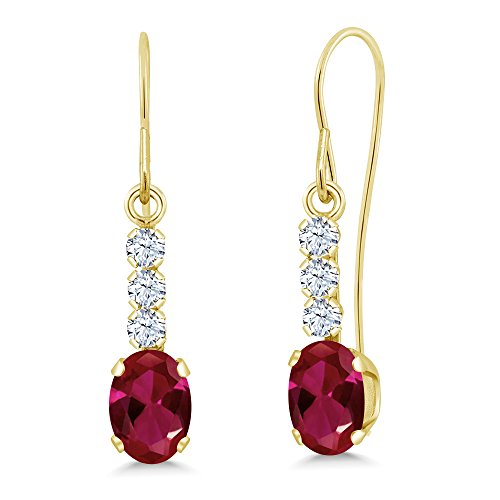 1.54 Ct Oval Red Created Ruby 10K Yellow Gold ()