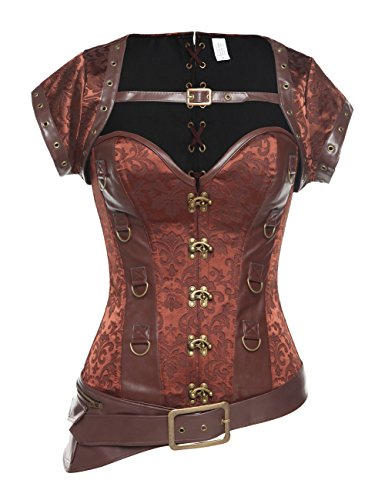 (MISS MOLY Women's Steampunk Boned Goth Retro Overbust Corset Vintage Bustier Top Lingerie (L(US Size 12), Brown))
