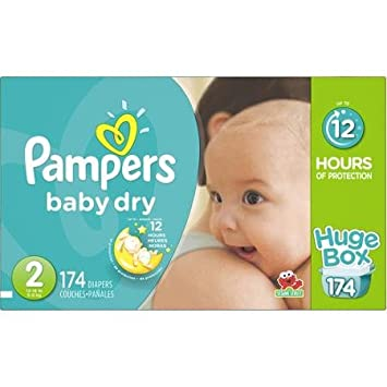 Pampers Baby Dry Diapers Huge Box, Size, 2, 174 count