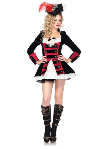 [Leg Avenue Women's Charming Pirate Captain Costume, Black/Red, Small] (Halloween Pirate Woman Costumes)