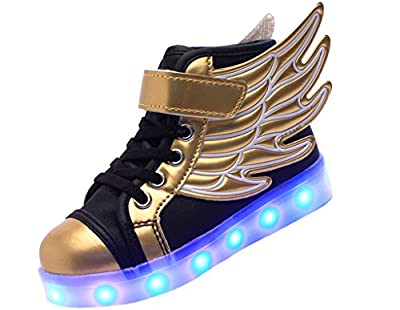 ERUPTWORLD Wings Kid Boy Girl Upgraded USB Charging LED Light Sport High-Top Shoes Flashing Sneakers