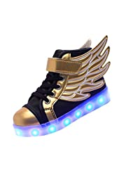 Merveilleux Wings Kid Boy Girl Upgraded USB Charging LED Light Sport High-Top Shoes Flashing Sneakers,#K2