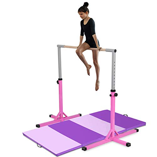 Costzon Junior Training Bar, Gymnastics Adjustable Steel Gymnastic Horizontal Bar with 4 ft Gymnastics Mat