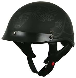 TORC (T53 Black Hills) 1/2 Helmet with 'Skull' Graphic (Flat Black, Large)