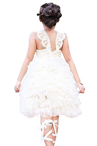 2Bunnies Girl Baby Girl Vintage Lace Rustic Wedding Flower Girl Tiered Tutu Tulle Ivory Dress