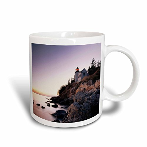 3dRose mug_192166_1 USA, Maine, Mount Desert Island, Bass Harbor Head Lighthouse Ceramic Mug, 11-Ounce
