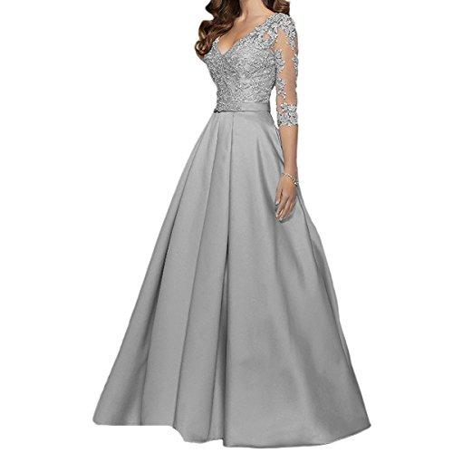 Ballkleid Linie mit Spitze Silber A LuckyShe Lang Ärmeln Hochzeitsgäste Abendkleider Damen OETXqX