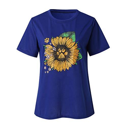 (〓COOlCCI〓 Sun Sunflower T-Shirt Women Cute Funny Graphic Tee Teen Girls Casual Short Sleeve Shirt Tops Blouse Blue)