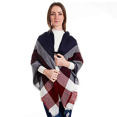 (Women Cardigan Poncho Cape|Loose Fitting Poncho Shawl|Plaid Tassel Poncho Shawl Wrap Sweater Coat|V Neckline &V Hem &Stylish Horn Buttons Design by)