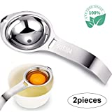 Egg Separator,2-piece set SUS304 Stainless Steel Egg Separator Egg White Separator and Egg Yolk Filter Separator with HandleKitchen Gadget Cooking/Baker Tool Egg Extractor (Silver)