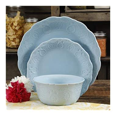 Pioneer Woman Dinnerware Set Ree Drummond 12 Pc Cowgirl Lace (Teal) (Light Blue)
