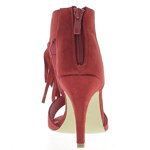 Rosso sandali alla fine 9cm tacco aspetto in camoscio con frange sul piede