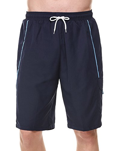 (Coofandy Men's Plaid Monaco Swim Trunk Quick Dry Casual Beach Surfing Short (XL, Navy Blue2))