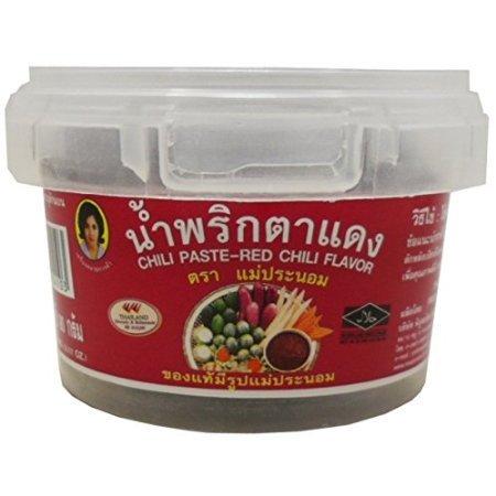 Chili Paste Net - Best Chili Paste Red-chili Flavor (Nam Prik Ta-dang) Thai Original Spicy Herbal Food Net Wt 90 G (3.17 Oz) Mae-pranom Brand X 2 Jars
